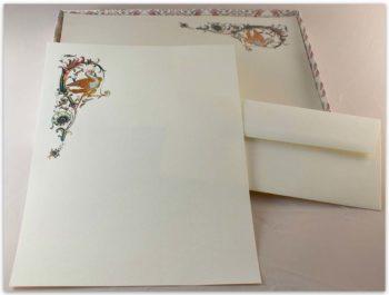 Carta Da Lettere Fedrigoni Decorazione Uccello Policromo Oro A Caldo
