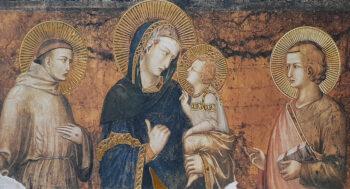 Biglietto Pietro Lorenzetti , Madonna Col Bambino E San Francesco